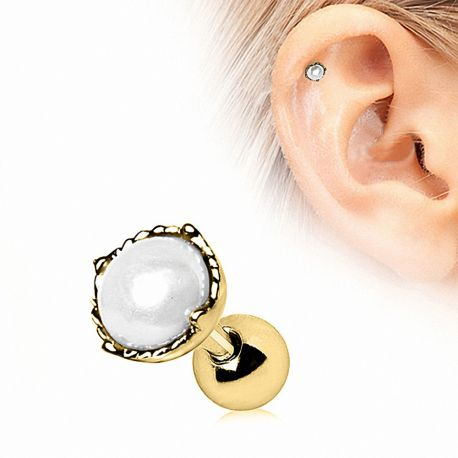 Piercing cartilage plaqué or couronne perle