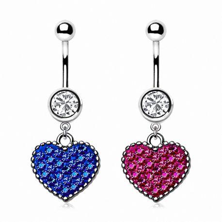 Piercing nombril coeur de crystal