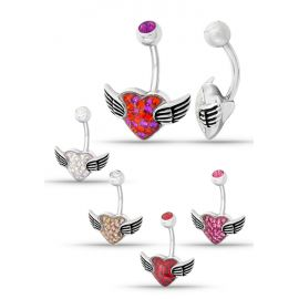Piercing nombril Crystal Evolution Swarovski Coeur ailes