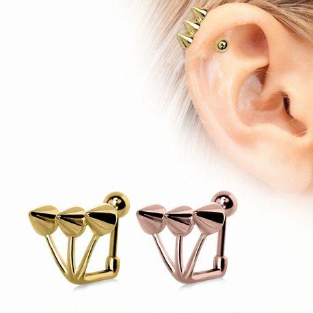 Piercing cartilage plaqué or trident