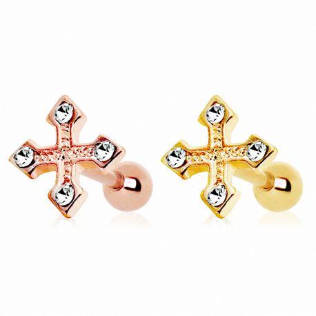 Piercing cartilage plaqué or croix tréflée