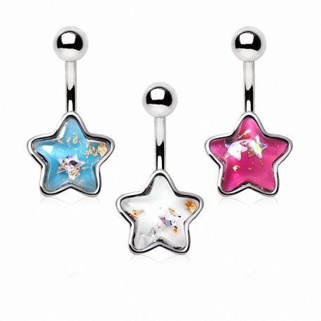Piercing nombril étoile scintillante