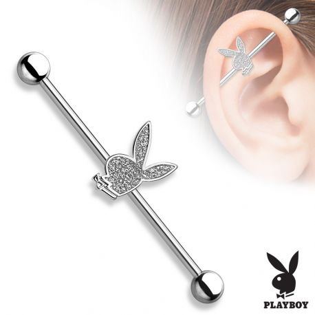Piercing industriel Playboy sable scintillant