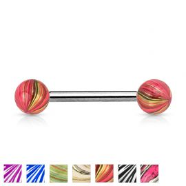 Piercing langue boules multicolores