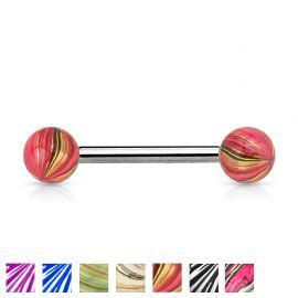 Piercing langue boules multicolores