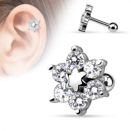 Piercing cartilage fleur argenté
