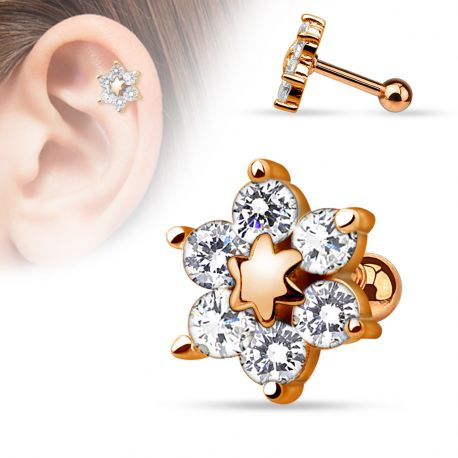 Piercing cartilage fleur or rose