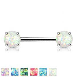 Piercing téton opale pailletée