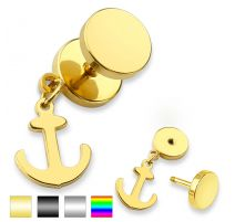 Piercing faux plug ancre marine