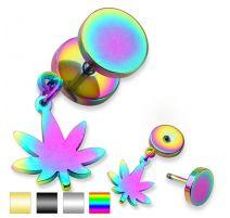 Piercing faux plug feuille de cannabis