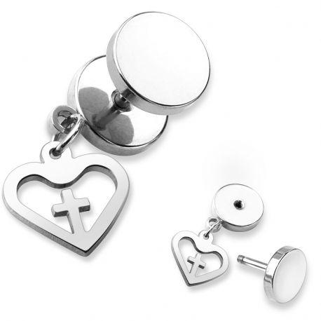 Piercing faux plug croix coeur