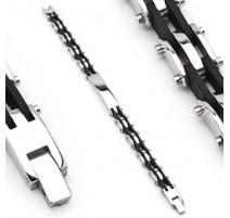 Bracelet en acier inoxydable et caoutchouc