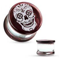 Piercing plug verre pyrex sugar skull