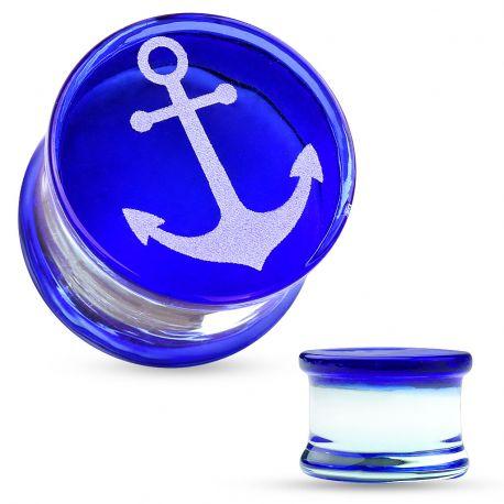 Piercing plug verre pyrex ancre marine