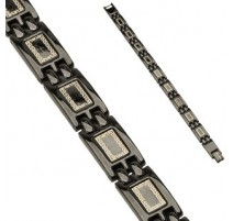 Bracelet en acier inoxydable Noir IP Liens Tribal