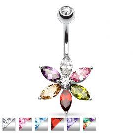 Piercing nombril fleur 6 pierres pétales