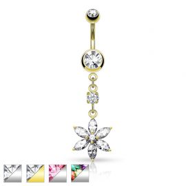 Piercing nombril pendentif fleur 6 pierres pétales
