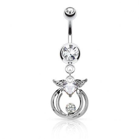 Piercing nombril ailes d'ange cercles