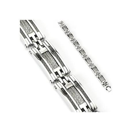 Bracelet en acier inoxydable avec Fibre de carbone