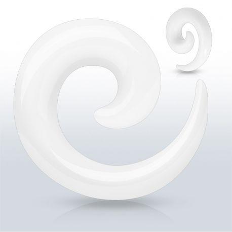 Piercing Ecarteur Oreille Acrylique Spirale Blanc