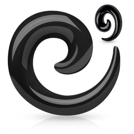 Piercing Ecarteur Oreille Acrylique Spirale Noir