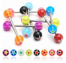 Lot de 8 piercing langue glitter star