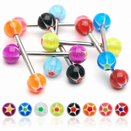 Lot de 8 piercing langue glitter star