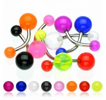 Lot de 10 piercing nombril boules acrylique