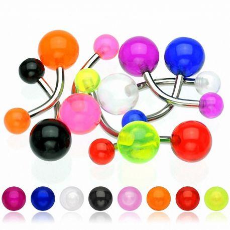 Lot de 10 piercing nombril boules acrylique