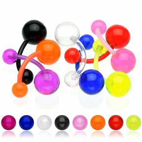 Lot de 9 piercing nombril bioflex boules acrylique