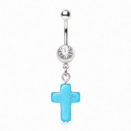 Piercing nombril croix turquoise