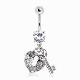 Piercing nombril coeur et clef