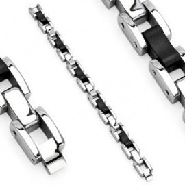 Bracelet acier inoxydable Liens caoutchouc