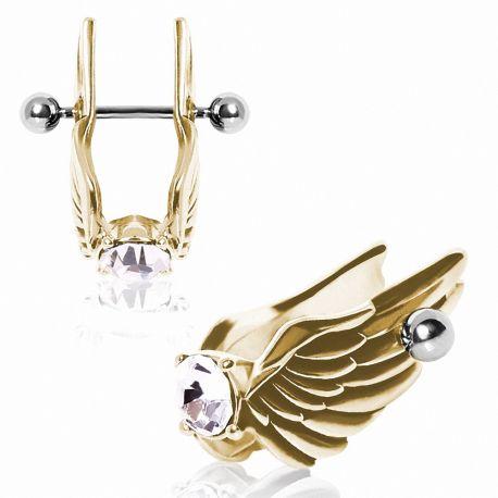 Piercing cartilage plaqué or aile d'ange plumes