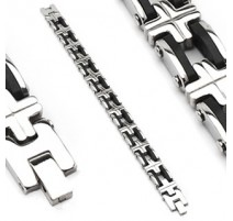 Bracelet acier inoxydable et caoutchouc (6668)