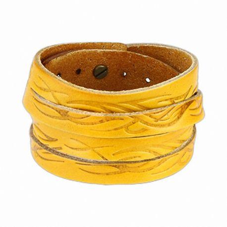 Bracelet cuir jaune tribal vagues