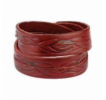Bracelet cuir rouge tribal vagues