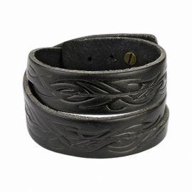 Bracelet cuir noir tribal vagues