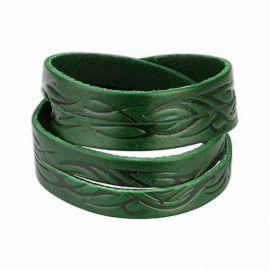 Bracelet cuir vert tribal vagues