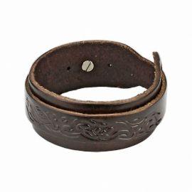 Bracelet homme en cuir marron tribal