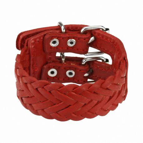 Bracelet en cuir tressé rouge double ceinture