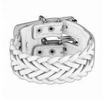Bracelet en cuir tressé blanc double ceinture