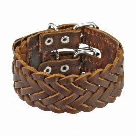 Bracelet en cuir tressé marron double ceinture