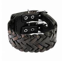 Bracelet en cuir tressé noir double ceinture