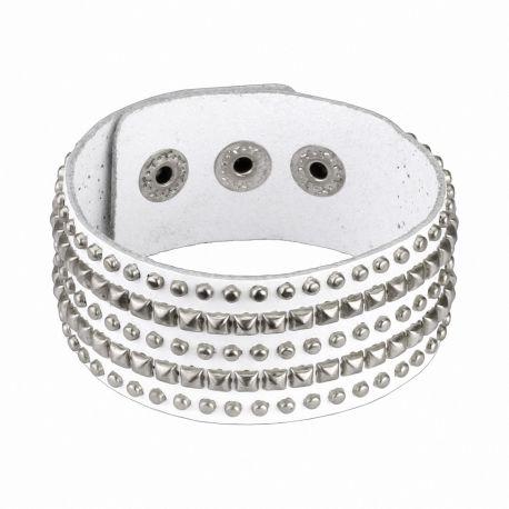 Bracelet en cuir blanc femme pyramides et clous