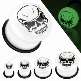 Piercing plug glow in the dark skull
