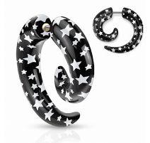 Piercing faux écarteur spirale étoiles