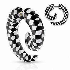 Piercing faux écarteur spirale carreaux