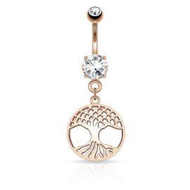 Piercing nombril arbre de vie or rose