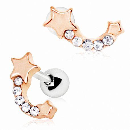 Piercing cartilage plaqué or rose étoile filante